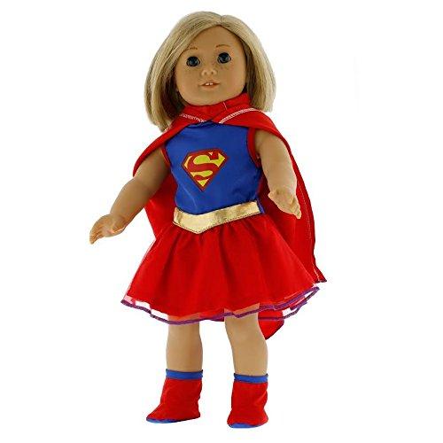 Für Frauen Dolly-kostüm (Dress Along Dolly Super Girl Puppenkleidung für Puppen 18 '' Super Hero Kostüm)