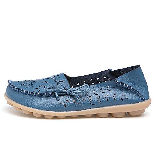 Yomarket scarpe mocassino casual da donna in vera pelle, guida piatto scarpe stringate traspirante Light Blue