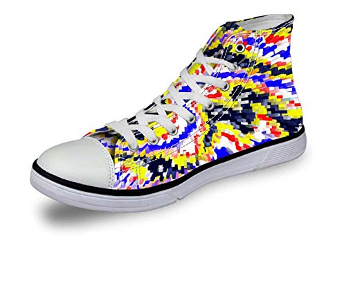 Fashion Canvas Sneakers Lace-up Athletic High Top for Girls Travel School Boots C0712AK. Women's US 8 = EUR 38