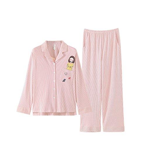 ALUK- Autunno e inverno - pigiama casa servizio cartone animato a righe in cotone tuta di cotone ( Colore : Rosa , dimensioni : M ) Rosa