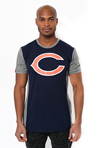Icer Brands NFL Herren T-Shirt Raglan Block Short Sleeve Tee Shirt, Team Logo Farbe, Herren, JTM2090A-CR-Medium, Navy, Medium -
