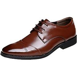Zapatos Oxford Hombre, Cuero Vestir Cordones Derby Calzado Boda Negocios Brogue Negro Marron Rojo 37-47EU BR42