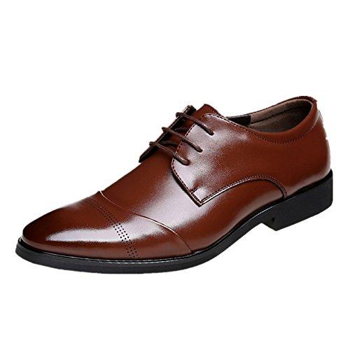 Business Herren Anzugschuhe, Lederschuhe Schnürhalbschuhe Oxford Schuhe Smoking Lackleder Hochzeit Derby Leder Brogue, Gr.-47  EU/Herstellergroße-285, Braun