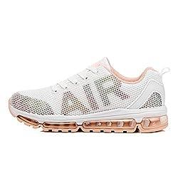 TORISKY Unisex Sportschuhe Herren Damen Laufschuhe Sneakers Turnschuhe Fitness Mesh Air Leichte Schuhe Rot Schwarz Weiß (A61-WH36)