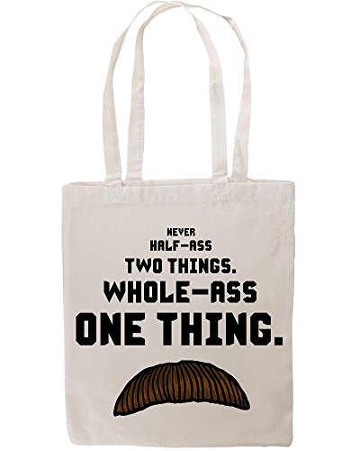 ron-swanson-quote-never-half-ass-two-things-funny-tote-shopping-bag