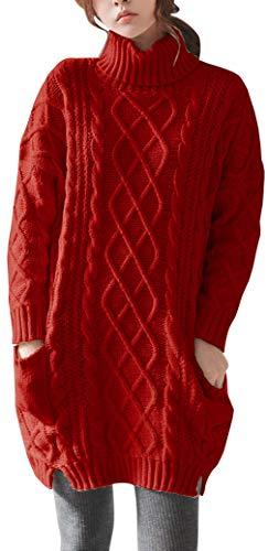 LinyXin Cashmere Damen Winter Kaschmir Langarm Rollkragen Pullover aus Wolle Kleid Gestrickter Sweater Pullover Kleid (M / 42-44, Rot)