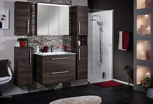 FACKELMANN Glasbecken/Waschtisch aus Glas/Maße (B x H x T): ca. 80 x 14,5 x 50 cm/Einbauwaschbecken/hochwertiges Waschbecken fürs Badezimmer und WC/Farbe: Weiß/Breite: 80 cm