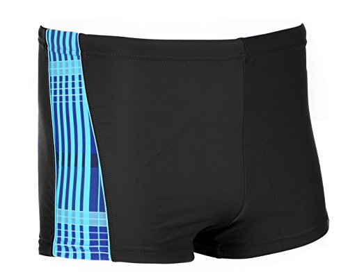 AQUAWAVE Herren Cheque Swimming Trunks Black/Scuba Blue/Chequered Print