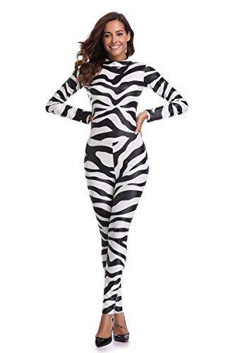 DuuoZy Damen sexy High elastische Overall Trikots Cosplay Lady Zebra Siam Kostüm, schwarz-weiß-Streifen