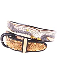Country & Biker - Ceinture homme cuir - Country Eagle & USA Size 46 # XM-230