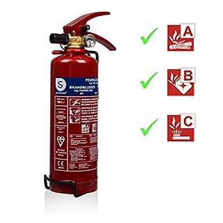 Smartwares SW BB1 Feuerlöscher 1 Kg/Pulverlöscher mit Halterung und Manometer 1kg