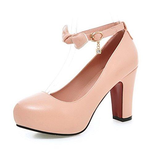 Damen Schnalle PU Leder Rund Zehe Hoher Absatz Rein Pumps Schuhe, Pink, 35 AllhqFashion