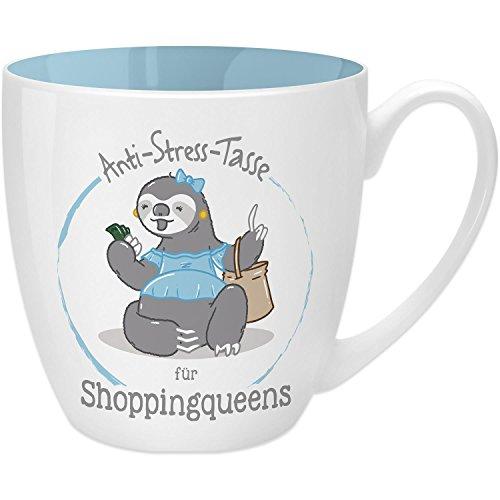 Gruss & Co 45521 Anti-Stress Tasse für Shoppingqueens, 45 cl, Geschenk, New Bone China, Blau, 9.5...