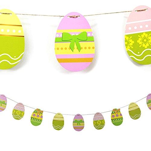 SUNBEAUTY bandera de dibujo huevo decoración para Pascua Cumpleaños festivales suministros al aire libre