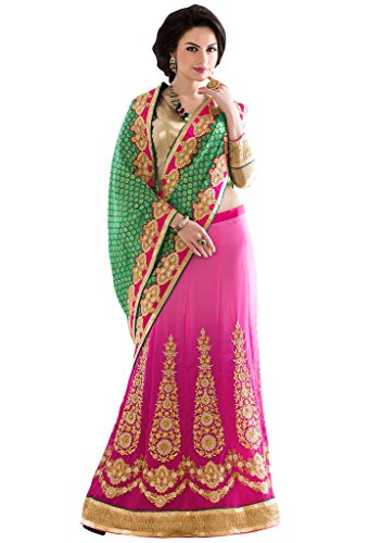 Khoobee Presents Multi Embroidered And Embellished Georgette Skirt And Viscose Pallu Lehenga Lehenga Saree(Pink ,Green)  available at amazon for Rs.2405