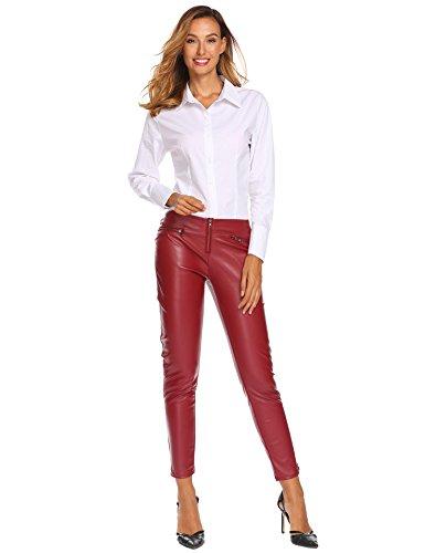 Zeela Damen Herbst Skinny Hosen PU Leder Leggings Röhrenhosen Coated Biker Jeans mit 2 Reißverschlusstaschen vorne (Leggings Wildleder Leder)