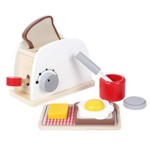 0Miaxudh – Panificadora, Juguete de rol, para Cocina, Madera, simulación, tostadora, panificadora, Juguete para niños