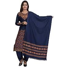 Indo Essence Women's Kashmiri Print Suit with Stole (Unstitched Viscose fabric - Navy Blue)