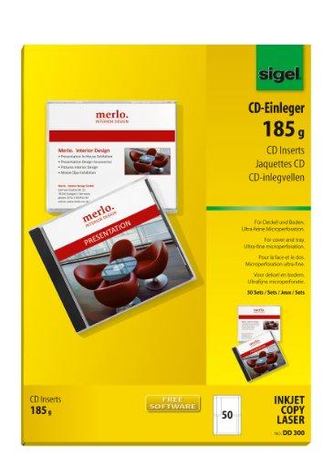 Sigel DD300 CD-Einleger, für Deckel und Boden, weiß, 50 Stück