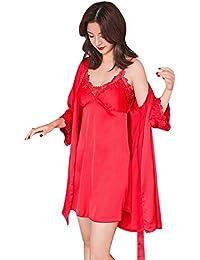 SXSHUN Camisón Sexy de Mujeres Ropa Interior Suave Conjunto 2Pcs de Camisón y Batas Pijama Elegante