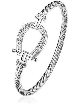 lureme® Lucky Hufeisen Armreif Kristall and Silber Western Schmuck Good Luck Charme for Pferd Lover Mädchen Women...