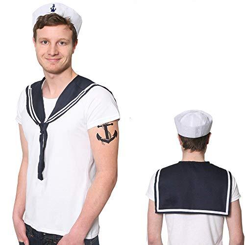 Kostüm Hüte Männer - Matrosen Kappe UND EIN Matrosen SCHAL FÜR DIE PERFEKTE VERKLEIDUNG KOSTÜM ALS SEEMANN=ERHALTBAR IN 6 VERSCHIEDENENEN STÜCKZAHLEN= 1 Hut + 1 SCHAL