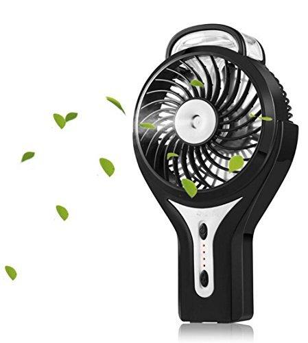 Carryme Mini USB Ventilator Tragbarer Kühlung Handventilator Ventilatoren mit Luftbefeuchter Standventilator Tischventilatoren Akku Faltbarer Fan für Laptop Desk Haus Büro Outdoor Reisen (Schwarz) -
