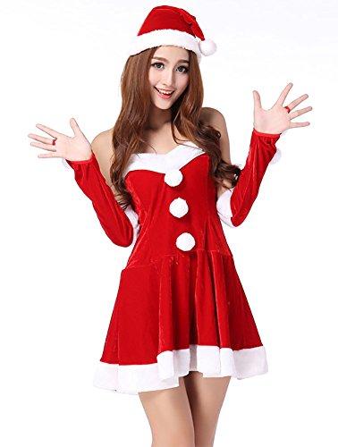 MissFox Damen Weihnachtsmann Kostüm BH Set Miss Santa für die Weihnachtsfeier oder Party ()
