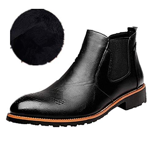 Hombre Botas Chelsea de Cuero Elegantes Calzado Oxfords Zapatos Forro Piel Sneakers Invierno Otoño Zapatos Negro 44