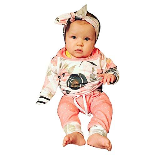 Kinderbekleidung Kinder Set Winter Btruely Unisex Langarm Tops Baby Clothes Set Blumen Gestreift Hoodie Pullover + Hosen Outfits Kleinkind Säugling Baby Set (70, Rosa) (Gestreiften Pyjama Set Baumwolle)