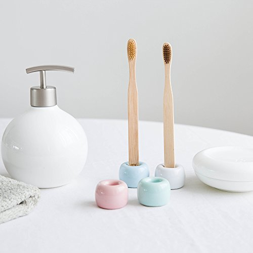 URToys 2 Stück Nordeuropa einfacher Stil Keramik Zahnbürstenhalter Porzellan Zahnbürstenständer Badezimmer Aufbewahrung Organizer Ring Vintage Mini Bad Zubehör (zufällige Farbe) (Geteilt Bad-organizer)