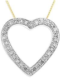 Collier Femme avec pendentif - Coeur - Or jaune (9 carats) 1.7 Gr - Diamant