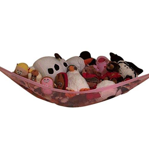 Aufbewahrung Spielzeug Hängematte, mamum 80x 60x 60cm größere Hängematte Ecke Jumbo Organizer Storage für Tiere Pet Spielzeug Einheitsgröße rose (Pet Organizer)