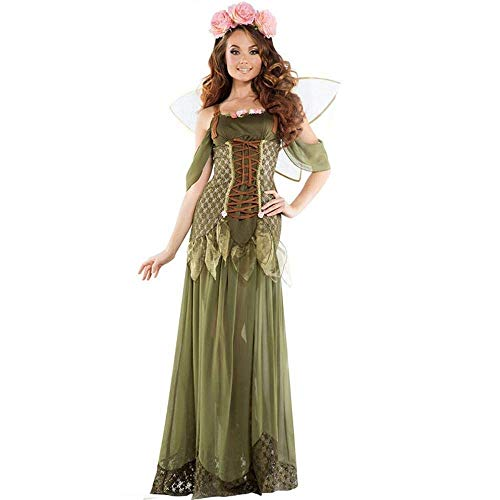 Fashion-Cos1 Green Elf Cosplay Kleid Forest Fairy Tinkerbell Kostüm Damen Halloween Kostüm Outfit Angel Performance Kostüm (Size : M)