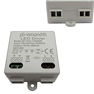 LED Leuchmittel Trafo 12V DC 0,5-15 Watt Gleichspannung Netzteil Treiber Transformator Driver Niedervolt LED-Transformator klein & flach - ohne Mindestlast (Trafo 8 Watt mini)