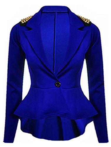 Nuovo da donna più elevata effetto Shift sottile peplo Blazer giacca misura da donna 8-24 SPIKE STUD ROYAL BLUE