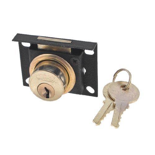 24mm Höhe Buche Fassung Glas Tür Lock Gold Tone Black w Schlüssel