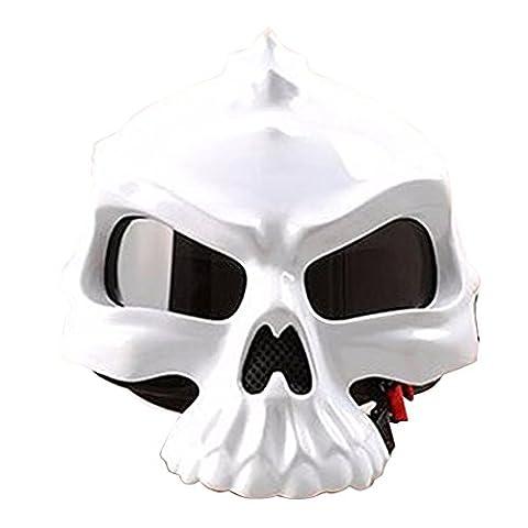 Motorcycle Bike Scooter Open Face Helmet 3D Skull Skeleton Half Helmets Matte Black White Gold Green Pink [DOT] S M L XL XXL (White, M)