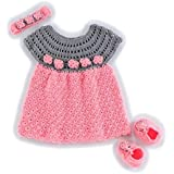 USHA Girl's Frock With Booties & Hair Band