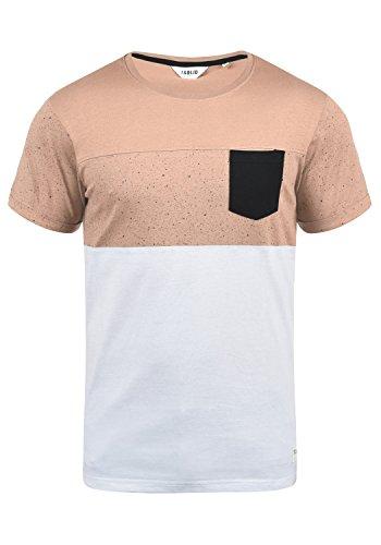 !Solid Kold Herren T-Shirt Kurzarm Shirt Mit Streifen Und Rundhalsausschnitt 100% Baumwolle, Größe:XL, Farbe:Mahog. Rose (4203) -