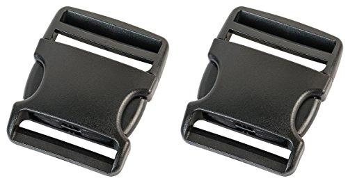 Duraflex plastic buckles in 20 mm, 25 mm, 38 mm, 50 mm, black color, plastic buckle closures, replacement buckles, 2 Stück (Doppelpack), 50 mm