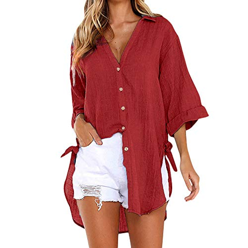 Momoxi Damen Sommer Loose Button Long Shirt Kleid Baumwolle Casual Tops T-Shirt Bluse Frauen Fashion Top Tank Button Kurzarm Shirt Bikini Blouson Armband Pump Jeans Lingerie Mantel Rot M - Denim Kleid Fashion T-shirt