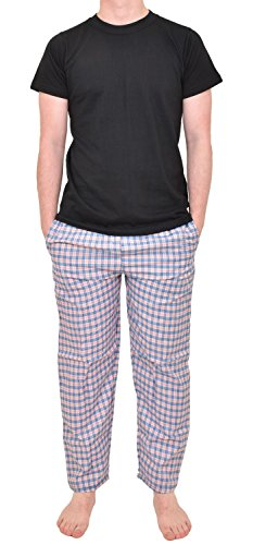 Gaffer Mens Woven Lounge Cotton Pant Short Sleeve Tshirt Set