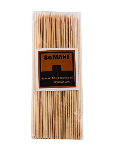 Somani bamboo BBQ sticks/kebab sticks/wooden skewers/fruit/roasting pick 8 inches (Pack of 200)  available at amazon for Rs.199