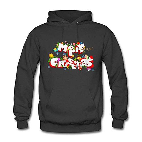 Women's Long Sleeve Merry Christmas Hoodie Sweatshirt Hooded Pullover A