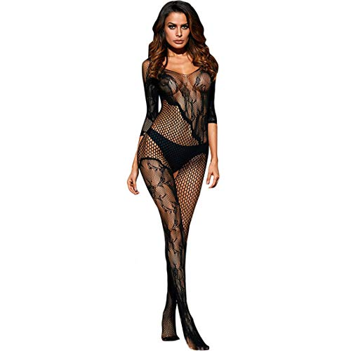 Zolimx Frauen Fischnetz Sheer Open Crotch Body Strumpf Bodysuit Dessous