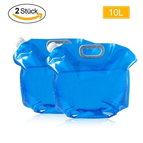 Wasserbehälter,LANMU Wasserkanister Faltbar,10L Wassertank Trinkwasser Behälter Container für Camping/Picknick/Reise (2 Pack,Blau)
