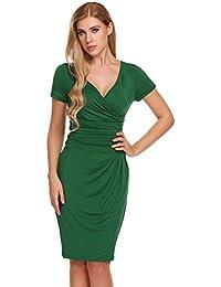 a98924e861462 ACEVOG Damen Wickelkleid Sommer V-Ausschnitt Bodycon Sexy Etuikleid  Business Kleid Party Kleid mit Kurzarm