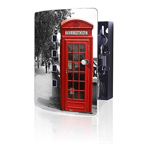 banjado Design Schlüsselkasten aus Edelstahl | 10 Haken für Schlüssel | praktischer Magnetverschluss | 24x21,5cm Motiv London Red Telephone