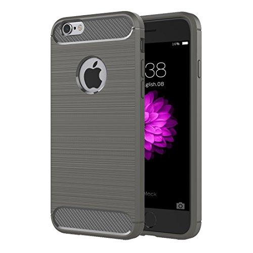 Pour iPhone 6 / 6s, étui de protection robuste en armure robuste en fibre de texture TPU JING ( Color : Grey ) Grey